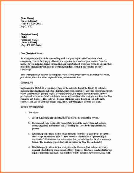 informal business proposal letter examples project