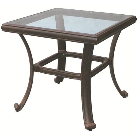 antique bronze table l darlee square patio end table with glass top in antique