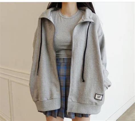 Jacket grey grey hoodie tumblr aesthetic korean fashion oversized grey hoodie - Wheretoget