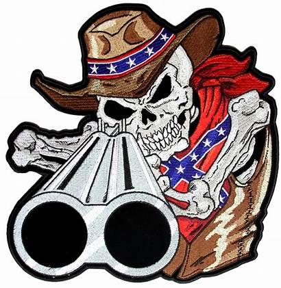 Rebel Confederate Skeleton Cowboy Patch Flag Biker