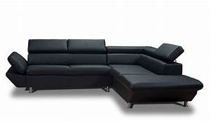 Canapé D Angle Avec Tetiere : atlas canap d 39 angle similicuir noir meuble et mobilier direct d 39 usine ~ Melissatoandfro.com Idées de Décoration