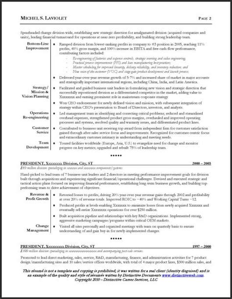 Actual Ceo Resumes by Resume 1 Or 2 Pages