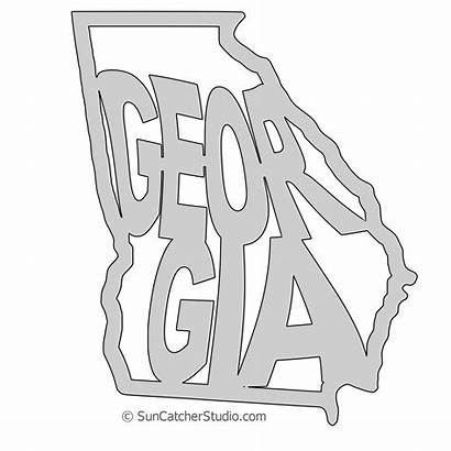 Outline State Georgia Pattern Map Stencil Scroll