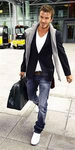 David Beckham Style - #darkblue #blazer #jeans #white # ...