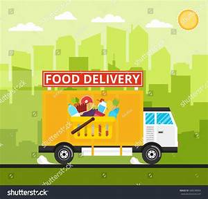 Food Truck Delivery Rides High Speed Stock Vector ...