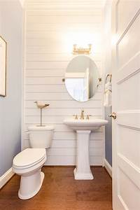 Wall designs for bathrooms : Coastal powder bathroom with shiplap wall love