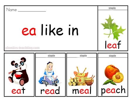 l words and pictures printable cards leaf legs phonics flip book ea words guided reading phonics flip