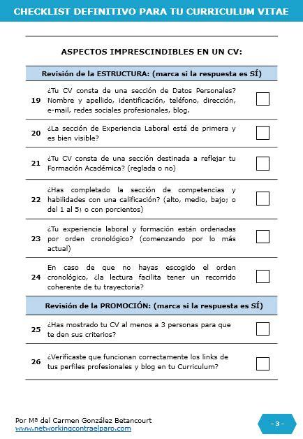 Cv Resume Checklist by Hacer Tu Curriculum Web Blackhairstylecuts