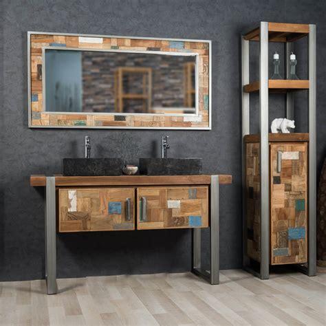 salle de bain loft industriel meuble sous vasque vasque en bois teck massif et acier bross 233 factory l 140 cm