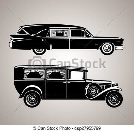 vintage hearses  set   fashioned funeral cars