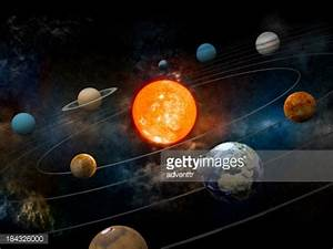 Sun And Nine Planets Orbiting Stock Photo | Getty Images
