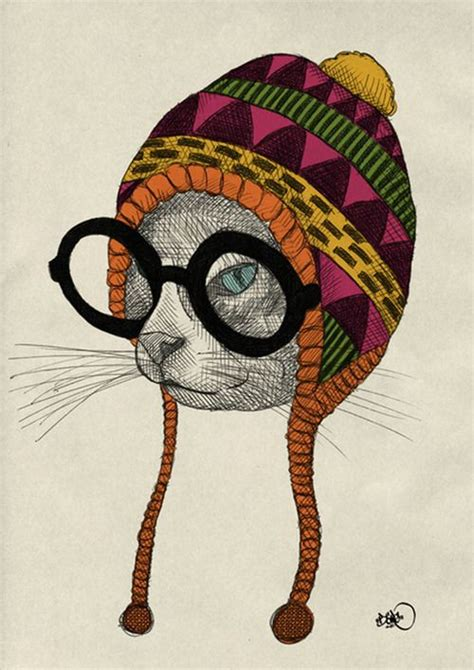 hipster animal illustration series  boerg  hipster