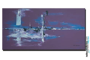 deco chambre violet tableau violet aubergine moderne grand format horizontal