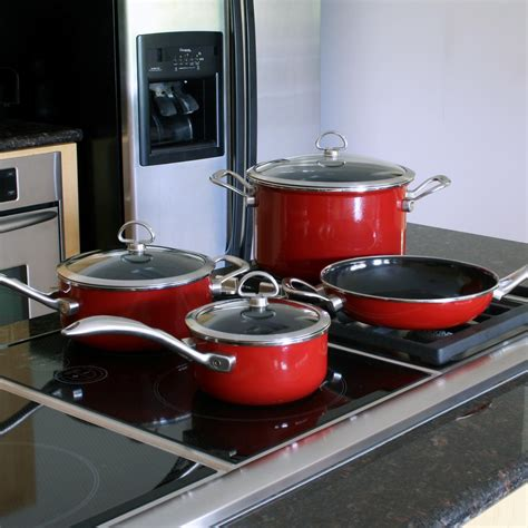 amazoncom chantal  piece copper fusion cookware set chili red dishwasher safe pans kitchen