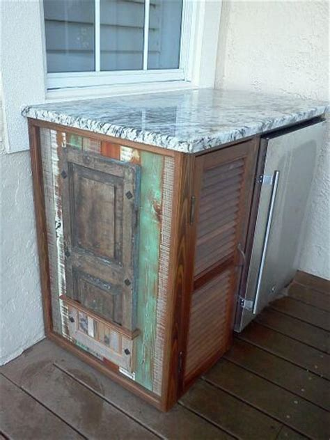outdoor bar cabinet repurposed shutters  wood
