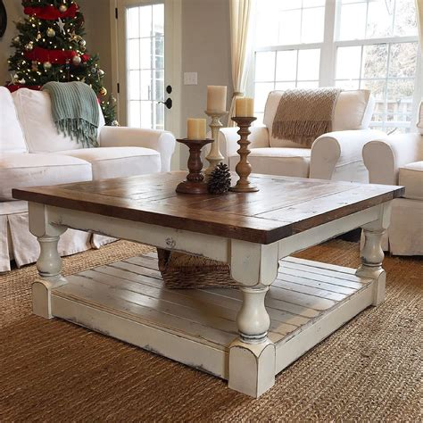 The square coffee table, the farmhouse coffee table, and the live edge coffee table. Chunky Farmhouse Coffee Table Pictures   Decorating coffee tables, Farmhouse furniture, Furniture