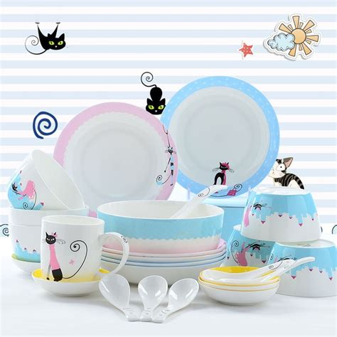 dinnerware cute cat sets korean plates tableware china kitty bone storage food ceramic 28pcs aliexpress plate designer gold cheap sc