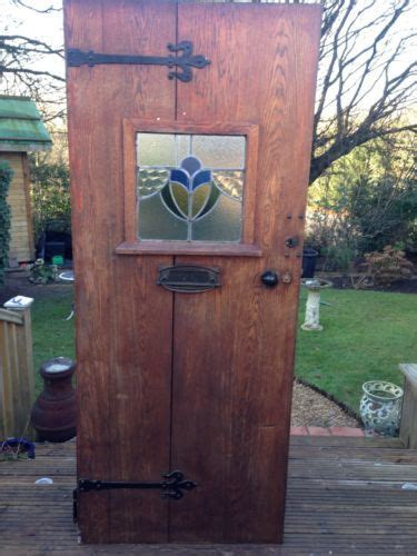 solid oak front door stained glass wood reclaimed rustic