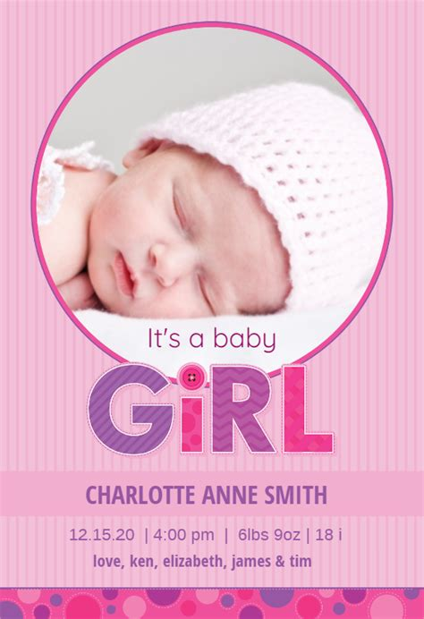 pink stripes baby girl birth announcement template
