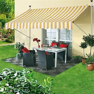 Sunfun klemmmarkise gelb weiss breite 25 m ausfall 1 for Markise balkon mit tapeten fliesen küche