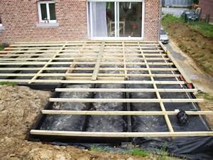creation d39une terrasse en bois sur mur en parpaing banche With terrasse bois sur parpaing plein