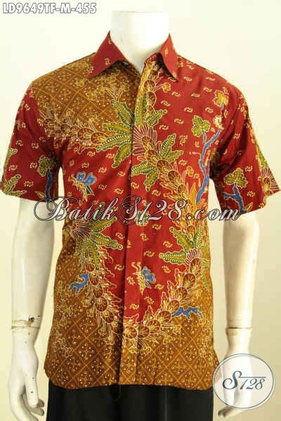 batik hem seragam kerja lelaki muda baju batik pria karir lengan pendek furing motif bagus