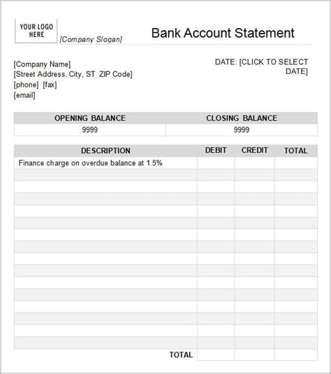 bank statement template 7 bank statement templates word excel pdf formats