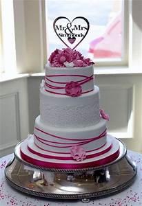 White Round 3 Tier Wedding Cake Pink Flowers & Mr Mrs