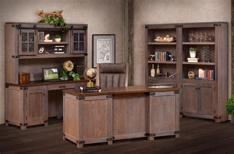 cave creek rustic wooden office set countryside amish