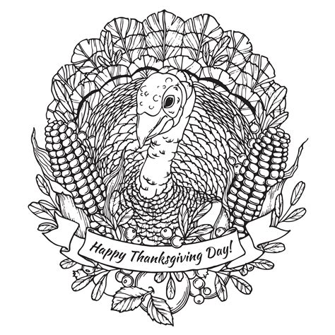 happy thanksgiving turkey mandala thanksgiving adult coloring pages