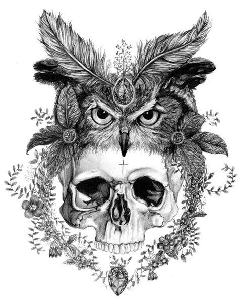 Skull in an Owl Headdress A3 Giclee Print – Sizewell Illustration Club   Designliebe.   Nice