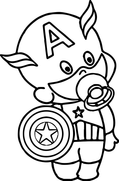 baby captain america coloring page wecoloringpagecom