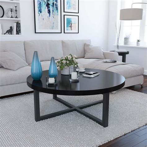 Round coffee table with wood finish and marble color from ca spanish handicraft. Traicere Contemporary Rustic Solid Wood Cross Base Round Coffee Table