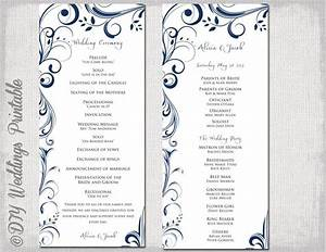 wedding program template navy blue instant download With wedding ceremony order of service