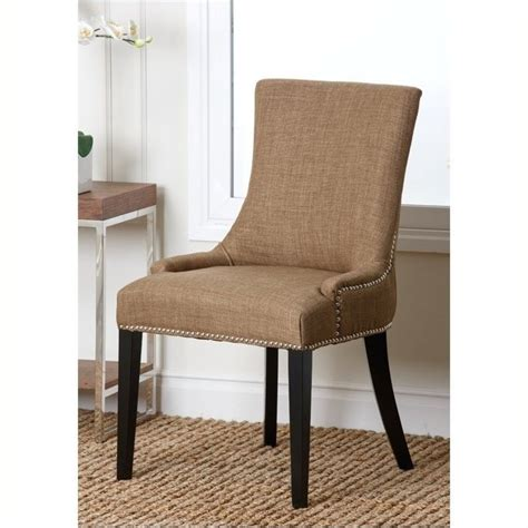 bowery hill nailhead fabric dining chair in gold bh 490296