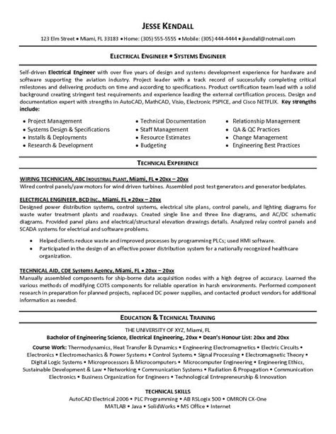 chief electrical engineer resume student resume template