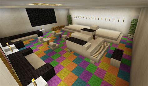 minecraft  room stage karaoke piano rainbow carpet