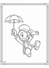 Jiminy Cricket Coloring Pages Pinocchio Print Disney Hellokids sketch template