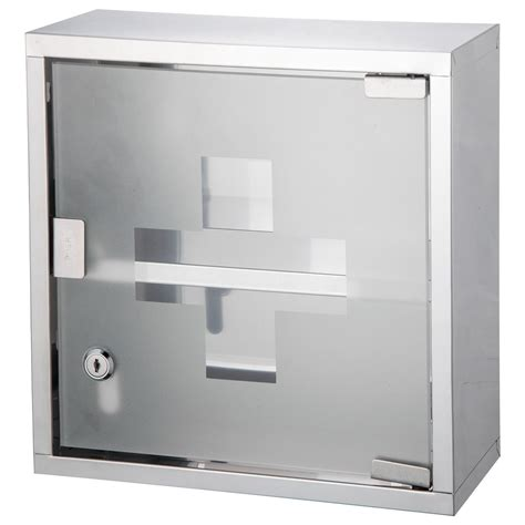 wall mounted medicine cabinet cupboard first aid box glass