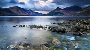 Lake, Mountains, Stones, Dark, Clouds, Sky, Nature, Landscape, Wallpaper