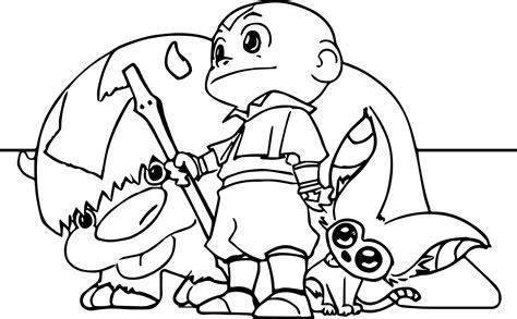Aang Appa Momo Bryan Avatar Coloring Page