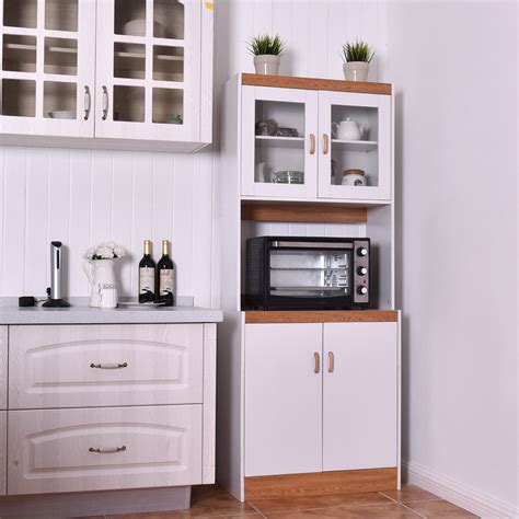 gymax tall microwave cart stand kitchen storage cabinet