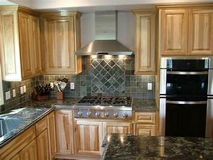 Kitchen Dark Wood Floor Hickory Cabinets Kitchen And Paint Colors