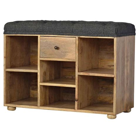 Upholstered Shoe Storage Bench by Shoe Storage Bench With Upholstered Black Tweed Seat On Onbuy