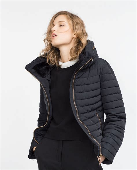 Zara Quilted Coat With Faux Fur Collar in Blue | Lyst