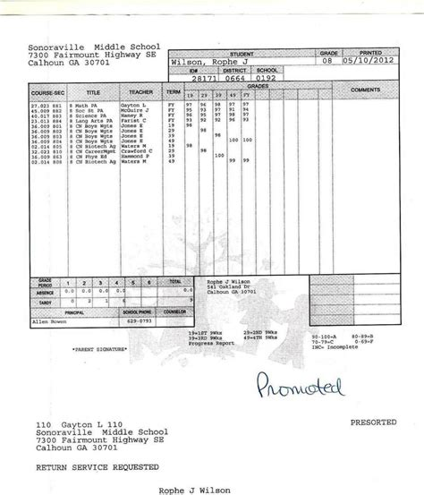 middle school report card template sampletemplatess