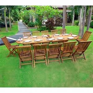 Table De Jardin Avec Rallonge : salon de jardin en teck sumatra huil avec table double ~ Farleysfitness.com Idées de Décoration
