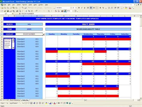 room planner excel booking calendar excel templates