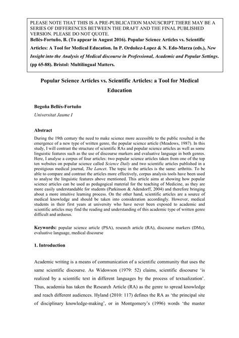 (PDF) 4. Popular Science Articles vs Scientific Articles ...