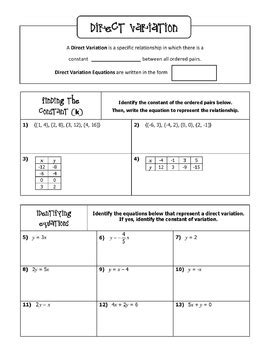 Direct Variation Notes And Bingo Game By All Things Algebra Tpt